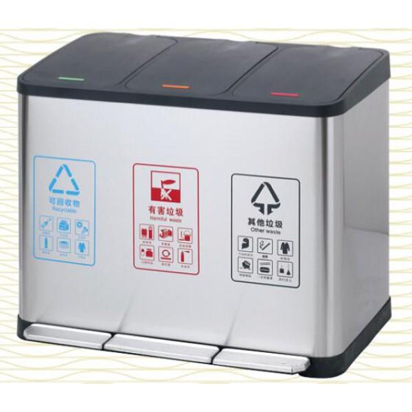 不鏽鋼分類腳踏垃圾桶(A-198C)